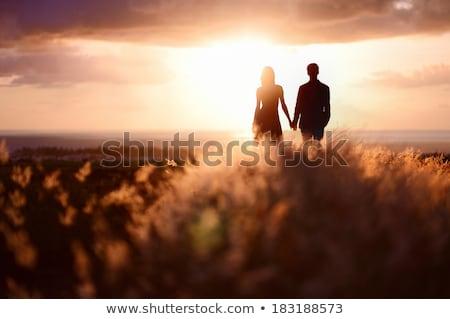 genieten · zonsondergang · strand · hemel · handen - stockfoto © lopolo