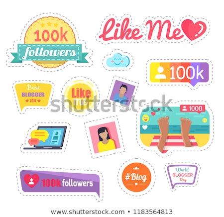 Zoals me sociale netwerken laptop sticker vector Stockfoto © robuart