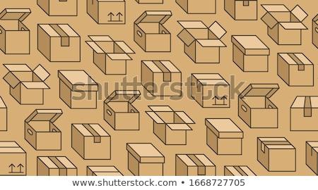 シームレス · セット · 段ボール · ボックス · 3D · 紙 - ストックフォト © kup1984