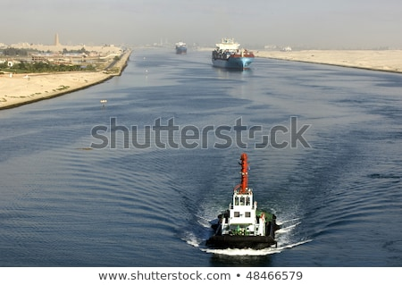 Boat is passing through canal Stock photo © Kzenon