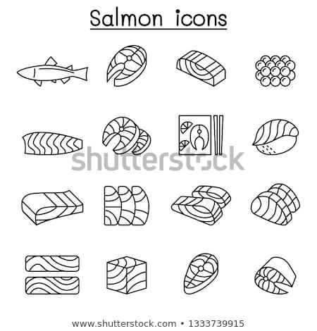 Gezonde voeding stuk vis vector dun lijn Stockfoto © pikepicture