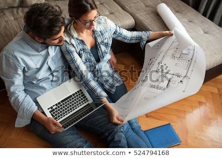 Architect naar huis plan kijken dimensie Stockfoto © ra2studio