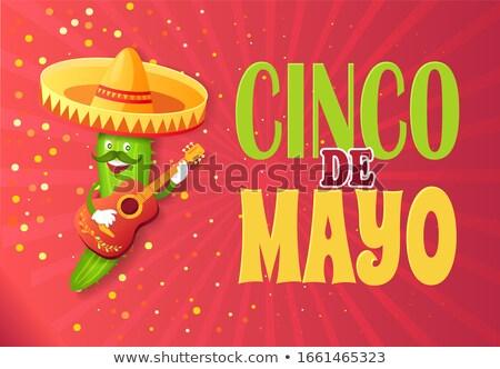 Komkommer karakter sombrero groet Stockfoto © robuart