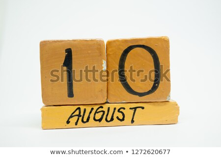 kockák · naptár · augusztus · piros · fehér · ikon - stock fotó © oakozhan