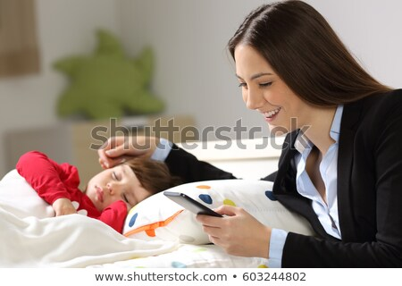 Work and relax, Woman freelancer is working on smart phone, whil Stock photo © Freedomz