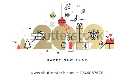 Happy new year flat vector banner template Stock photo © Decorwithme