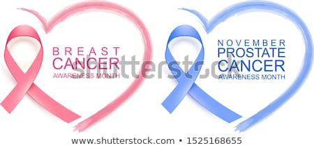 National breast cancer awareness month. Poster pink ribbon, text and heart shape. November prostate  Stock photo © orensila