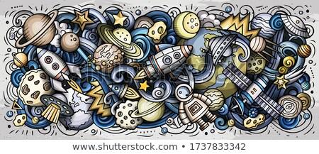 пространстве рисованной Cartoon иллюстрация красочный Сток-фото © balabolka