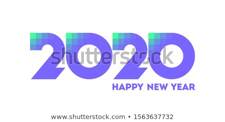 Happy New Year 2020 logo design with pixelated purple numbers Stock photo © ussr