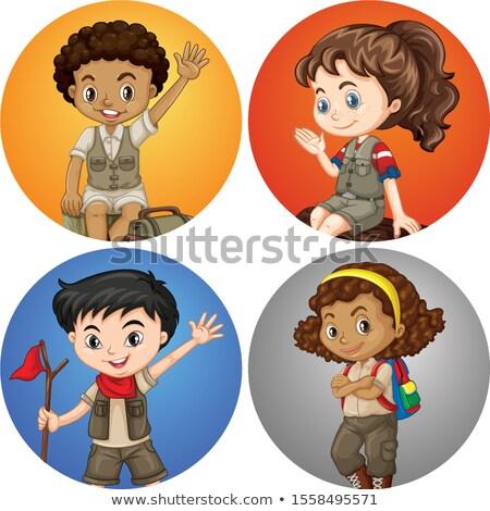 Dört çocuklar safari kostüm örnek kız Stok fotoğraf © bluering