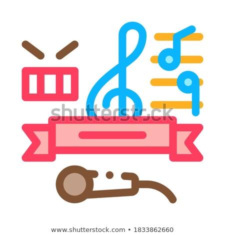 Musik Unterricht Abschluss Symbol Vektor Gliederung Stock foto © pikepicture
