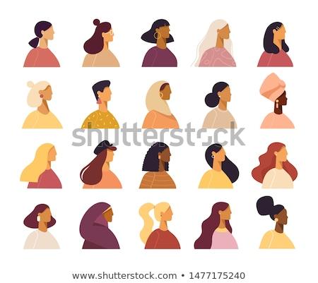 4 · 美しい · 女性 · 長髪 · 少女 · 顔 - ストックフォト © essl