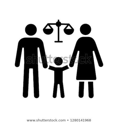 Rozdzielenie rodziny sylwetka młotek sala sądowa dzieci Zdjęcia stock © AndreyPopov