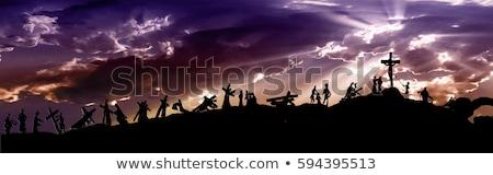 Jézus Krisztus hordoz kereszt jelenet terv Stock fotó © SArts