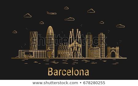 Barcelona gouden silhouet eenvoudige toerisme Stockfoto © ShustrikS