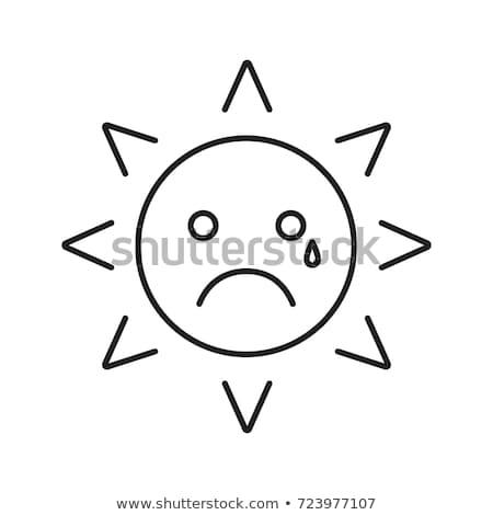 Crying sun emoticon outline illustration Stock photo © barsrsind