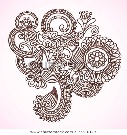 Abstrakten Henna Blumen Doodle Illustration Stock foto © galitskaya