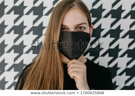 black and white portrait of grunge girl with surgical mask Stock photo © Giulio_Fornasar