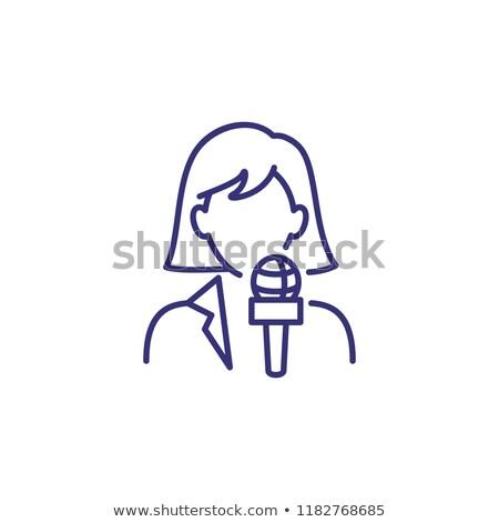 Riporter nő ikon vektor skicc illusztráció Stock fotó © pikepicture