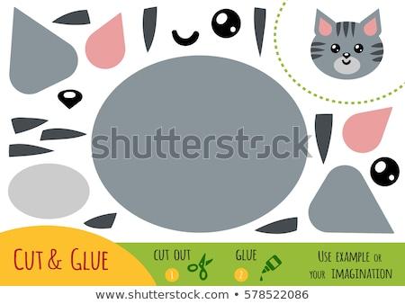 Onderwijs spel kinderen kat schaar lijm Stockfoto © natali_brill