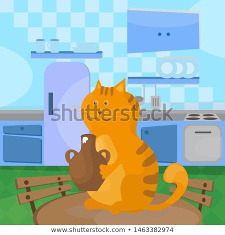 кошки сметана керамической чаши таблице кухне Сток-фото © natali_brill