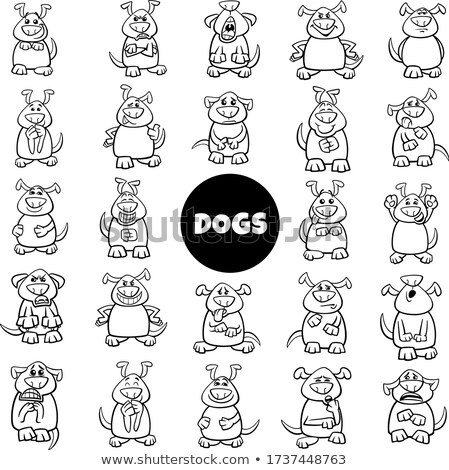 cartoon dog characters emotions and moods big set Stock photo © izakowski
