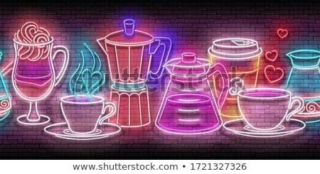 Glow Seamless Pattern with Different Types of Coffee Stock photo © lissantee