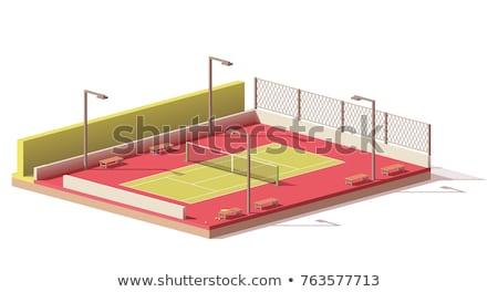 Tenis kortu net izometrik ikon vektör imzalamak Stok fotoğraf © pikepicture