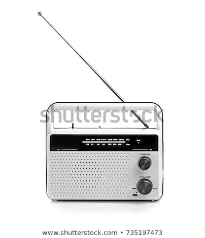 öreg · hordozható · rádió · fehér · munka · fém - stock fotó © koratmember