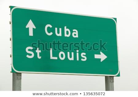 Куба шоссе знак зеленый облаке улице знак Сток-фото © kbuntu