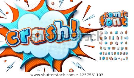 Oranje kinderachtig grappig bubble doopvont kunst Stockfoto © Melvin07
