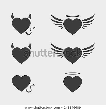 angyal · ördög · szívek · jó · gonosz · szeretet - stock fotó © cidepix