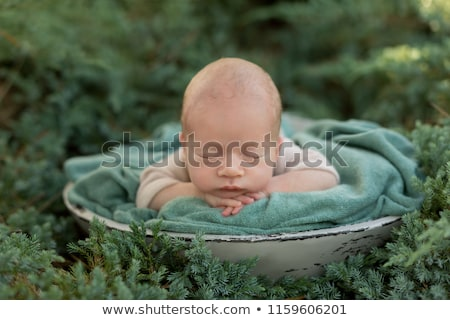 Stock photo: Closeup portrait of  baby on nature