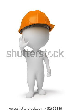 3d small people   worker at a stop pose stock photo © anatolym