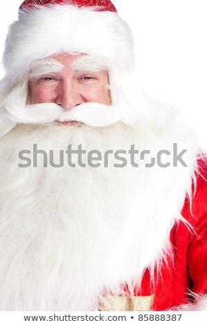 mikulás · portré · mosolyog · izolált · fehér · szappanbuborékok - stock fotó © HASLOO