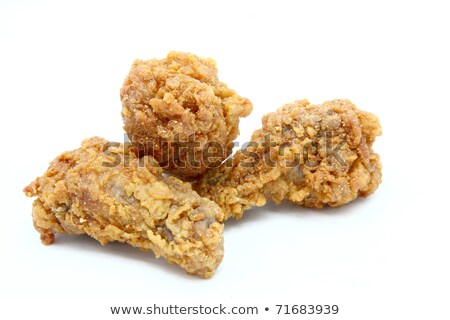 Isolated Three Spicy Deep Fried Chicken Mini Wing Stok fotoğraf © vichie81