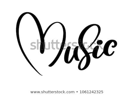 coração · notas · musicais · amor · piano · preto · jogar - foto stock © marinini