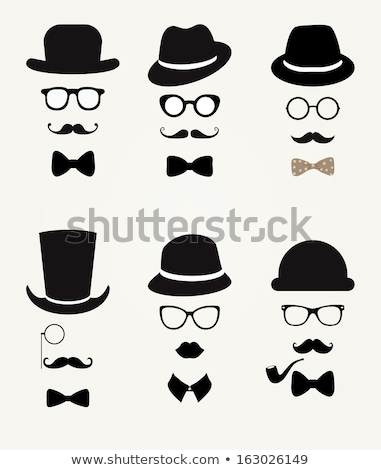 Stock photo: mustache and hats, vector set