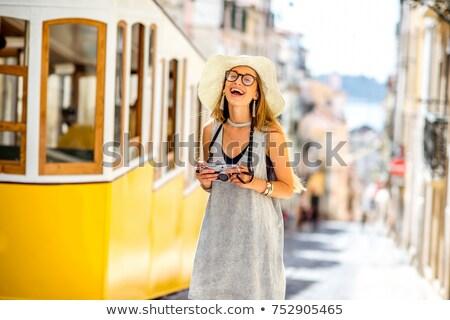 Mujeres retro tranvía sonriendo adulto sonrisa Foto stock © fotorobs