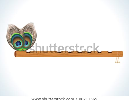 Stockfoto: Abstract Wood Flute With Feather