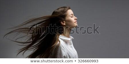 брюнетка · красоту · волос · портрет · счастливым · человек - Сток-фото © lithian
