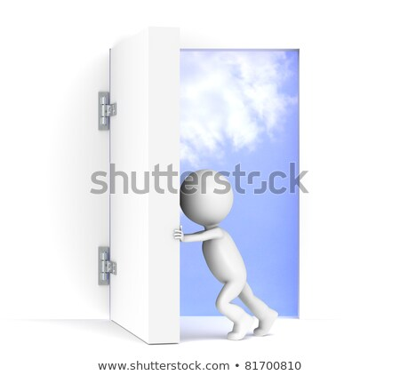 3D little human character opens a massive door Stock photo © JohanH