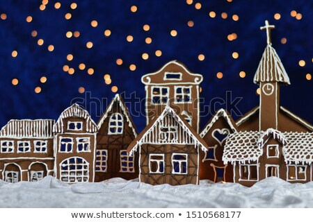 Christmas Gingerbread cottage at night Stock photo © saje