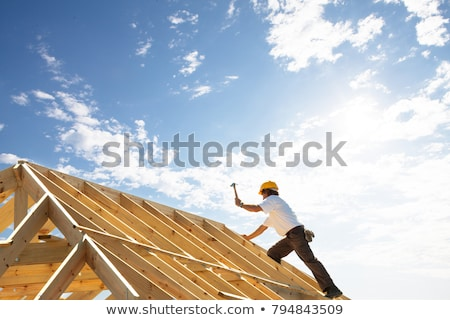 Man working on house frame Stock photo © photography33