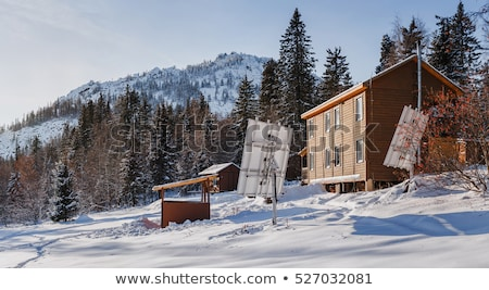 mountain cabin with solar panels stock photo © franky242