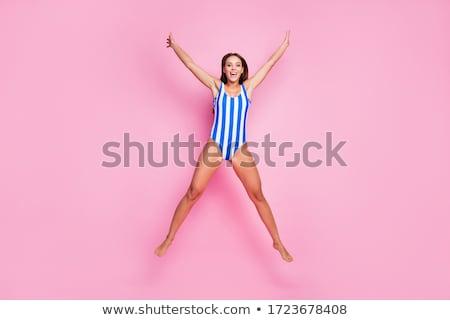 Stock fotó: Hosszú · lábak · nyugodt · hölgy · víz · kép · meztelen
