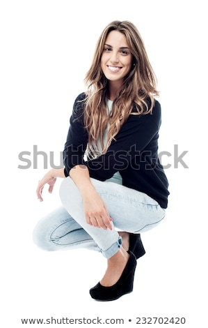 woman smiling in squat position  Stock photo © feedough