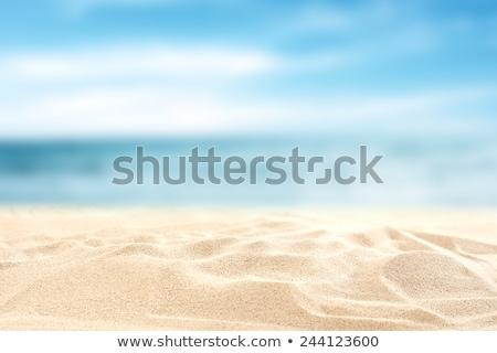 Foto stock: Areia · branca · praia · sol · mar · azul