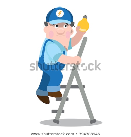 werknemer · klimmen · ladder · man · Blauw - stockfoto © photography33