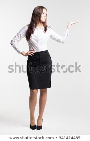小さな 笑顔の女性 黒 スカート 白 シャツ ストックフォト © acidgrey
